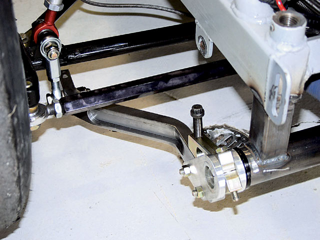Many teams opt to install the NASCAR-style sway bar mounts instead of the one-piece mount. These mounts are much stronger and offer less friction between the bar and the housing.