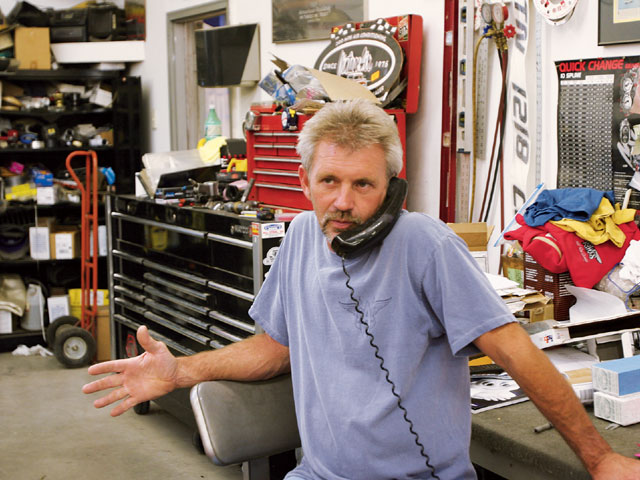 Problem with building a car is the time you spend on the phone! Builder Bobby Alloway spends many a late night catching up from the day's business.