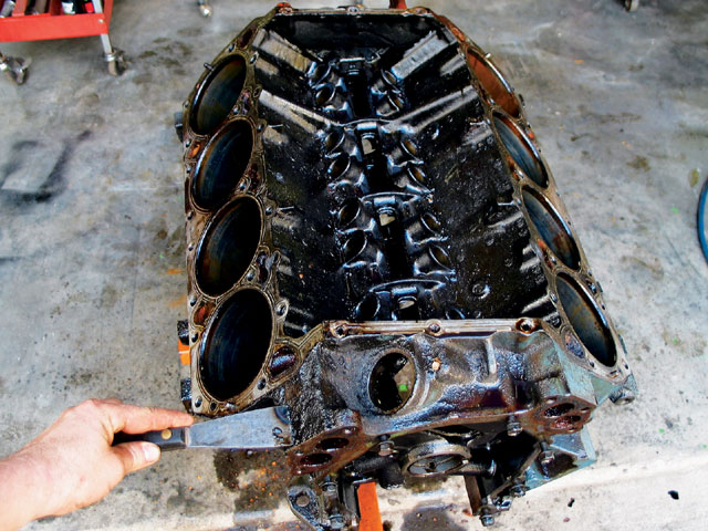 Prior to shipping our block to Chenoweth Racing, we disassembled it and gave it a quick degreasing. Mopar 400 blocks are readily available, heck, a brand-X racer at our local track gave us this one just to make room in his shop!