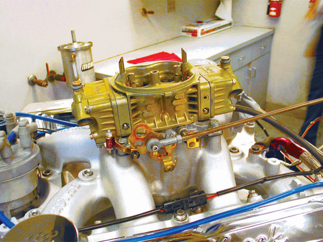 We also bolted on an Edelbrock Performer Air Gap 460 intake to our completed engine package along with a 750-cfm Holley carburetor with an HP main body to feed this 466ci thumper. Between the aluminum heads and intake, we managed to lipo almost 100 pounds of ugly iron off this beast.