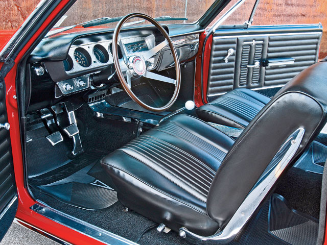 The coveted four-spoke simulated wood steering wheel is a hard option to come by these days unless a reproduction piece is desired.