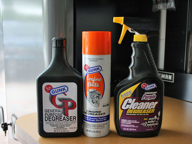 Here are the products we used. Solder Seal's Gunk line of automotive degreasers and cleaners have been the staple of the market since the beginning. Each has their own intended purpose, so that you can receive the best cleaning for your specific application. We had a horrible transmission fluid leak that found its way onto the crank pulley, which flung fluid all over underneath the hood. These products proved to work perfectly, as we had hoped.