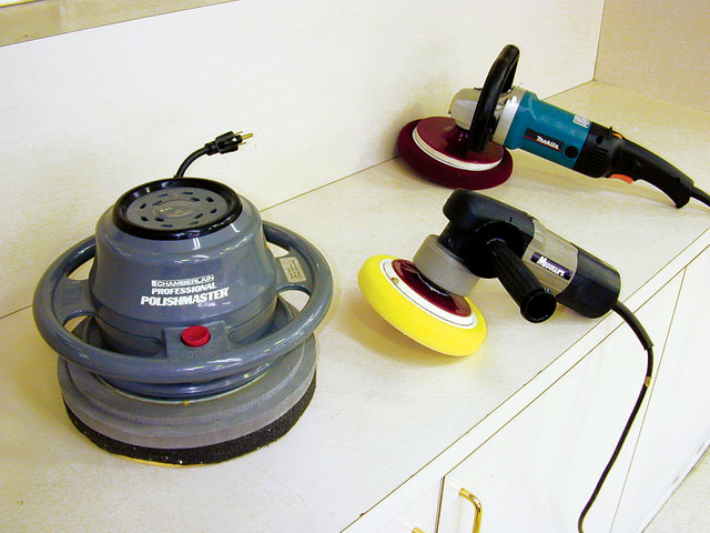 Power tools that can be used to apply polish include (from left) an orbital buffer, a dual-action polisher, and a rotary buffer. Using power rather than old-fashioned elbow grease is easier, and you'll generally use less polish than you would when applying by hand. Care must be taken, though, not to scratch or burn through the paint. For this reason, the rotary buffer is probably the least ideal for the job, as it spins in one direction only. The orbital and DA buffers move in several directions at once, so the buffing action isn't concentrated in one area.