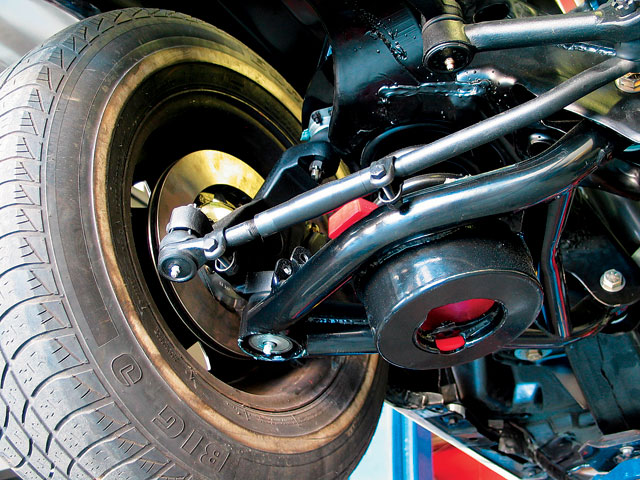 The front end setup is a model of simplicity, using a one-stop-shopping purchase from PSC. It includes A) Global West G-Series tubular control arms with added caster, B) Optional Del-a-lum bushings, C) 2-inch dropped spindles ($279.95), and D) all-new tie-rod ends and sleeves.