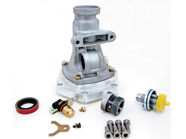 Starting in '96, GM 4L60E transmissions began moving to six-bolt extension housings in place of the previous four-bolt housings. All factory six-bolt housings are set up for electrically driven speedos. S&P offers a special six-bolt 4L60E/4L65E housing kit that accepts mechanical speedo cables and gears. The mount pad lines up with TH200-4R/TH400 mounts.