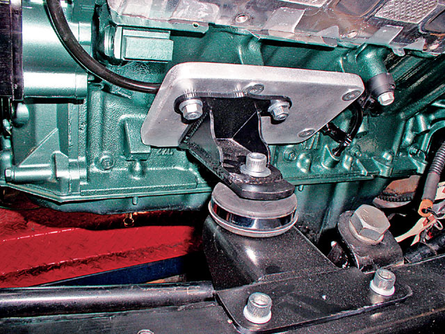 Many street-rod kits come set up for biscuit-style mounts then use steel adapter plates to bolt to the block. Chevy V-8 adapters for this system are widely available. S&P offers an adapter-plate kit that bolts to the Hemi block and in turn picks up a Chevy-style adapter. Frame adapters are also included.