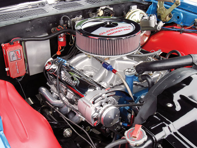 This 461ci Olds sits between the wheelwells of Tim Meirick's '70 442 running a slightly different combination of Edelbrock heads, 240/246 0.541/0.544-lift cam, and an Offenhauser Port-O-Sonic intake with an Edelbrock 750 carburetor. It runs 12.50s at 109.