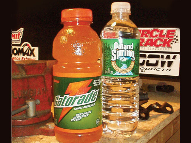 To keep yourself hydrated on race day, go for water or a sports drink. Stay away from soda and energy drinks.