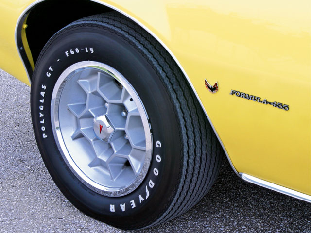Although purchased with Rally II wheels and F-70 tires, the buildsheet showed Honeycombs and the fatter, optional F-60 Goodyear PolyGlas GT tires. After careful research, a correct set of date-coded, 15x7-inch Honeycombs were purchased and expertly restored before being adorned with N.O.S. trim rings and center caps.