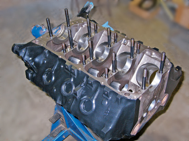 For those of you who just have to see clean parts, here is the block freshly machined prior to assembly. The front of the block on the passenger side had to be slightly clearanced for the crank counterweight. (Photo by Gary Cygan Jr.)