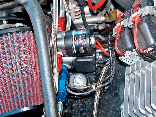 The Super Power solenoids were mounted on the fenderwell. Each one has 0.130-inch inlets and outlets and employs a Teflon plunger and Viton seals.