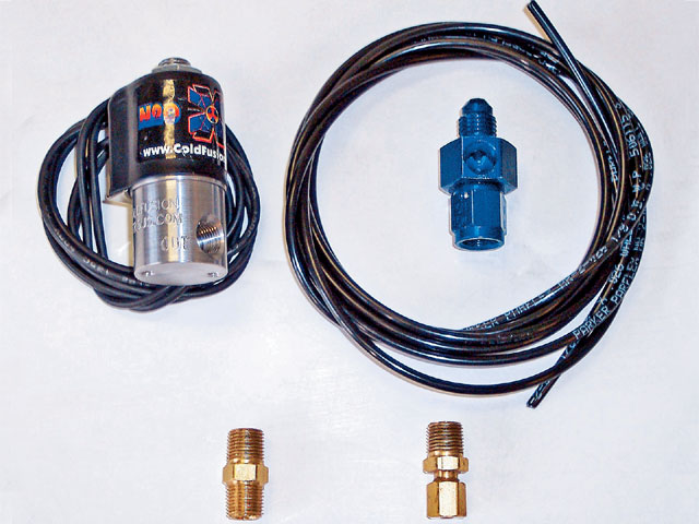 Cold Fusion's Purge Kit was also added to this system to clear the lines of nitrous vapor, thereby ensuring liquid nitrous is at the ready the instant the nitrous comes on photo courtesy of manufacturer.