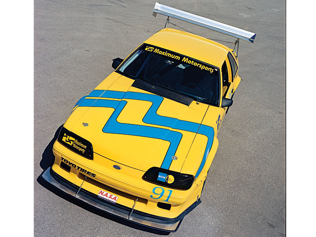 Balancing the extra downforce from the new wing required asplitter-style front spoiler. The finalized single-element rear wingwill be sold as a 3.5-pound carbon-fiber retail item for '79-and-upMustangs and considerably revised compared to the aluminum prototypeshown here.