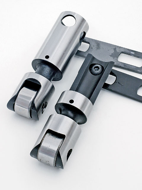 At 7,000 rpm, valvetrain mass becomes critical; it needs to be as light as possible without sacrificing critical stiffness. With its cut-down upper body, Comp's lightweight mechanical roller lifter (PN 888-16, right) shaves 34 grams off the full-bodied lifter (left)-despite a 0.300-inch-taller body that permits the guide bar to clear a Bow Tie block's taller lifter bores.