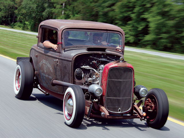 Bruce Hall and his '32 rat on the road, where you'll usually find it.