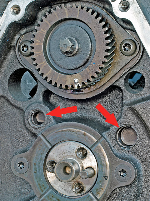 The two-galley V-6 oil system (arrows) is OK through 7,000 rpm. In 1992, V6-90s got a balance shaft (sprocket, top) for smoothness. It creates additional inertial mass, not the plan for a serious hot rod, so delete it and plug any balance-shaft oil-feed holes. Don't avoid '96-and-up balance-shaft motors-most also have true Vortec heads.