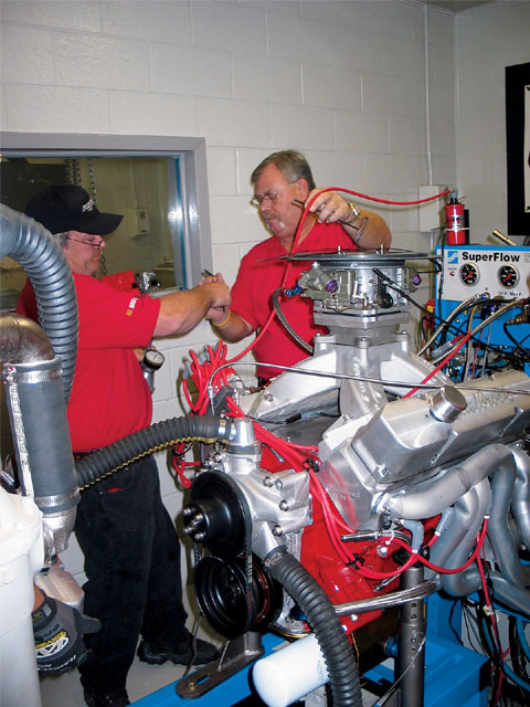 Judging by the team effort, the crew from J.D. Engine and Machine has plenty of racing experience. They needed it as a broken rocker adjuster had them scrambling to make repairs between dyno pulls. Even with limited tuning time, their power numbers were enough for a second place finish.