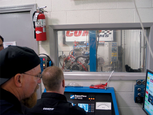 As engine builder, David Timmons, concentrates on the dyno's computer screen, dyno operator, Rich Smith, makes the pull which nets Mopar Engines West the highest combined power and torque of our competition.
