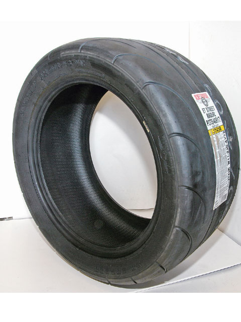 M/T's 275/40R17 ET Street Radial (Part No. 3743R) is a DOT approved street legal drag radial optimized for dry traction. It is not recommended for use in the rain. The company recommends an 8-10-inch wide rim, tire pressures of 12-16 psi and a short burnout to activate the sticky R2 compound of the tires.