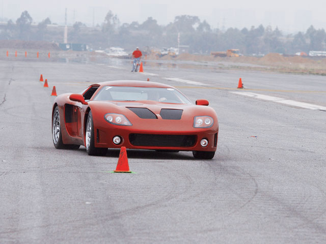 With FFR Engineer Jim Schenck behind the wheel, the Corvette LS7-powered Factory Five Racing GTM performed admirably in the slalom.