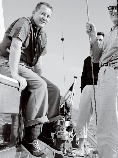 We found a lot of photos from 1959 and later of Pete's hunting and sailing trips. This shot  was taken by Wally Parks on Petersen's sailboat. His later yacht was dubbed the Sea Rod.