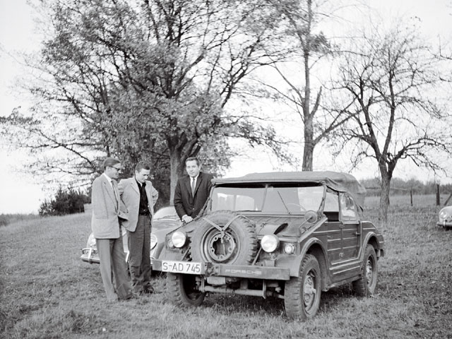 Our archives include photos of Petersen's European trips from 1957 through 1960, and they reveal his tours of the plants of Ferrari, Lamborghini, Mercedes,  and seen here, Porsche in 1957. Pete's personal rides were most often European cars rather than rods.