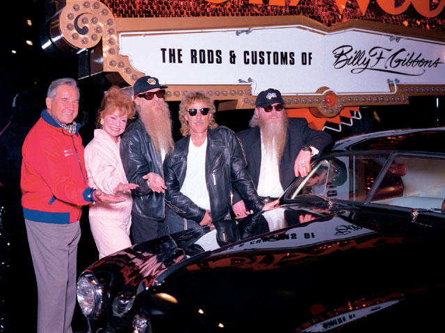 The Petersen Museum has been the scene of many gala parties and celebrity-car displays over the years. Here are Pete and Margie with some longhairs in 1995.