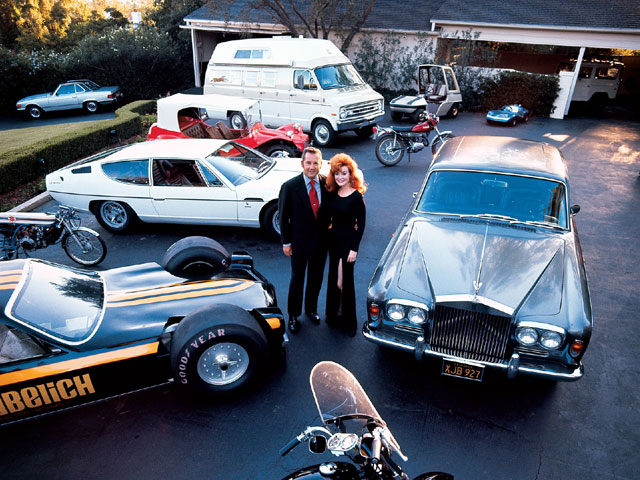 This publicity photo from 1967 shows the Petersens with a few of their toys in the driveway of their Beverly Hills home.