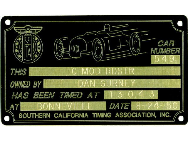 This SCTA timing tag shows Dan Gurney's time at Bonneville Speed Week. The car was Skip Hudson's 1929 Model T roadster.