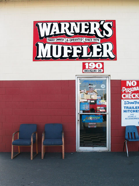 As the sign says, Warner's Muffler has been around since 1974.