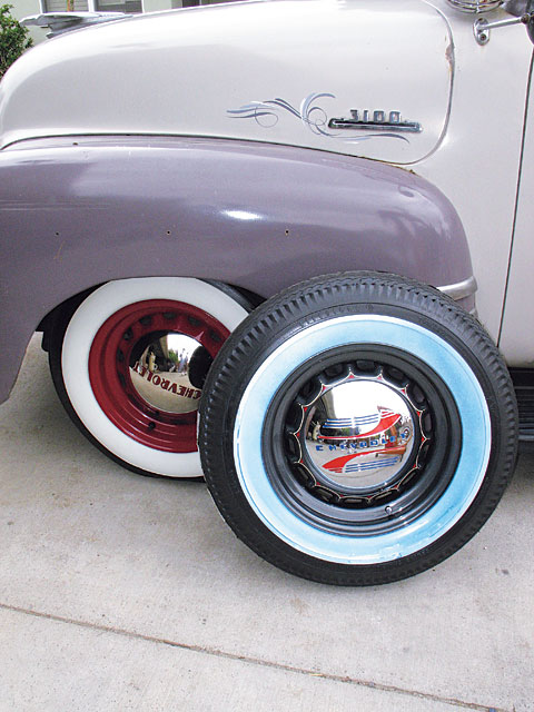 Here are Rob's bias-ply 5.90x15 Firestone and B.F.G. Silvertown tires in a whitewall on his '53 Chevy from Coker Tire. Radials can't hold a candle to the classic looks of a bias-ply tire, which is why they still have a legion of followers after all these years despite the fact that radials offer better gas mileage and all-around performance. For those who want to compromise between the two, Coker does offer whitewall and redline radials.