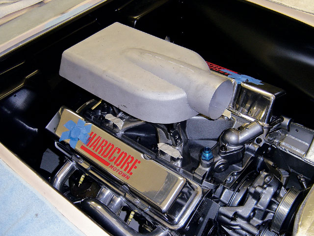 Because hood clearance was an issue with this car, the airbox was built and trial fit numerous times while the engine was in the car.