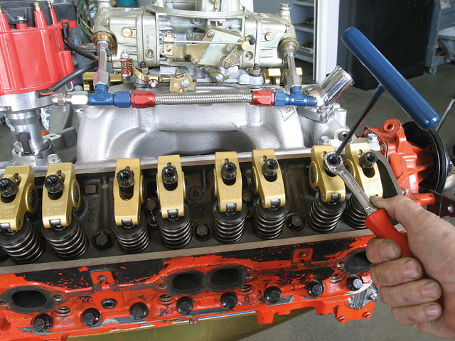 we used Crane Gold Race 1.6:1 roller rockers to coax more lift out of the PowerMax 288 cam. Vortec heads require narrow-body, guided rockers to clear the centerbolt valve covers.