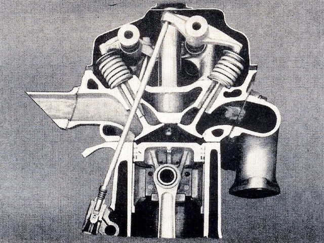 The original '51-'58 Chrysler FirePower Hemi (Gen I) utilized cast-iron heads with fully machined 109cc combustion chambers, centrally located spark plugs, and an included valve angle of 58.5 degrees. Flat-top pistons delivered 7.5:1 compression. Note how the valves open toward the center of the bore away from the shrouding effects of the cylinder walls, and double rocker shafts actuate the valves.