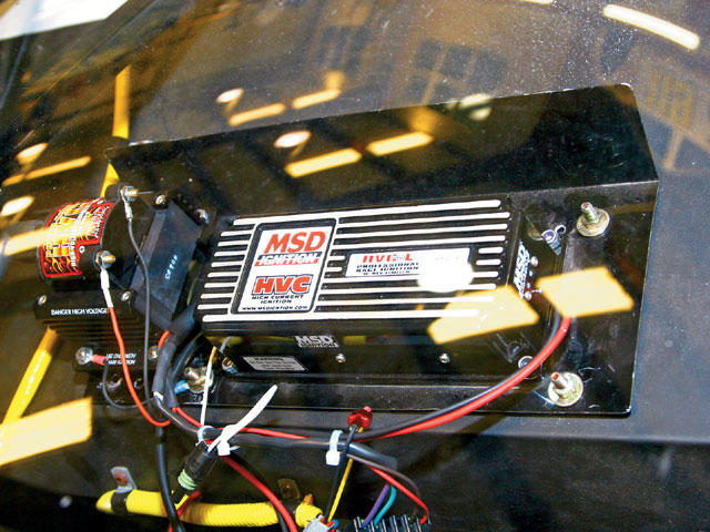 We installed a new MSD HVC-L ignition box in our NASCAR Late Model stock car. A rev limiter is included in this variation of the popular HVC unit. The rpm limit is adjustable with plug-in modules.