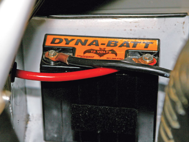 The new-generation racing batteries are much smaller and lighter than those of past years. This Dyna-Batt from Performance Distributors was installed in our NASCAR Late Model stock car.