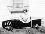 Peter Giarraffa with his Soap Box Derby car in 1939.