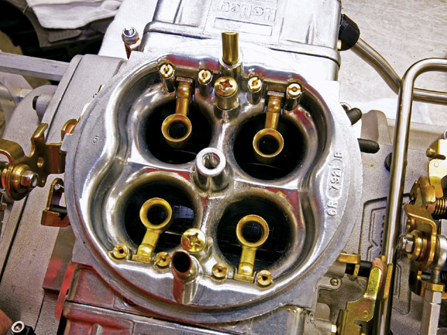 Take a look at all those air bleeds and such. These blower Holleys had just about every circuit recalibrated for the unique needs of a positive-displacement blower.