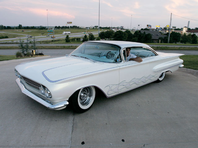 The Mike Young '60 Chevy Impala, built by Gary Howard, won the Bradley Award at the Leadsled event and was driven by Christian Moore.