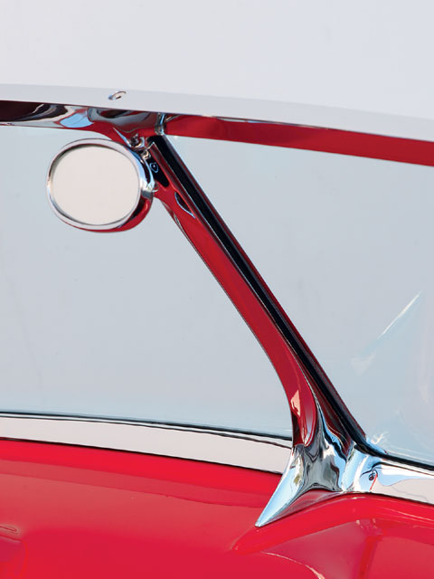 A windshield normally made to fit narrow Muroc '32 bodies was modified to fit the custom DeCamp roadster.