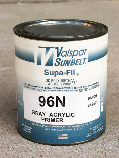 This Valspar Supa-Fil is a good, high-build catalyzed filler primer that comes in handy for filling minor surface imperfections.