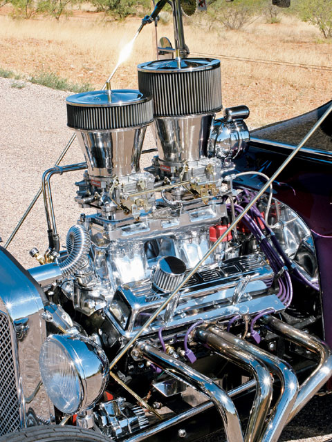 Even though the engine is a stock 350 crate engine, it pushes this tiny T around just fine. Ben added the Edelbrock tunnel ram intake along with a pair of Edelbrock 500-cfm carbs (topped with twin K&N air filters).