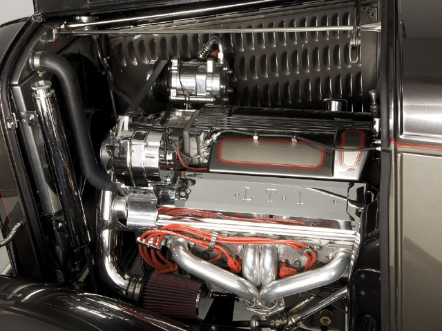 Power for Jon Kosmoski's  Deuce comes from the always-reliable 355-inch Chevy 8 with a dose of high-compression (11:1) built in by Cottrell Racing Engines, weighing in at 410 hp @ 5,500 rpm and 395 lb-ft of torque @ 4,800 rpm.