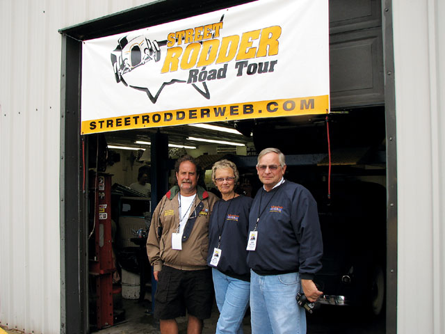 Sandy (center) and Mike Eaton (right) were not only sponsoring the Road Tour, (being the hot rodders they are) they traveled along with us all week in the company's 1947 Ford sedan delivery.