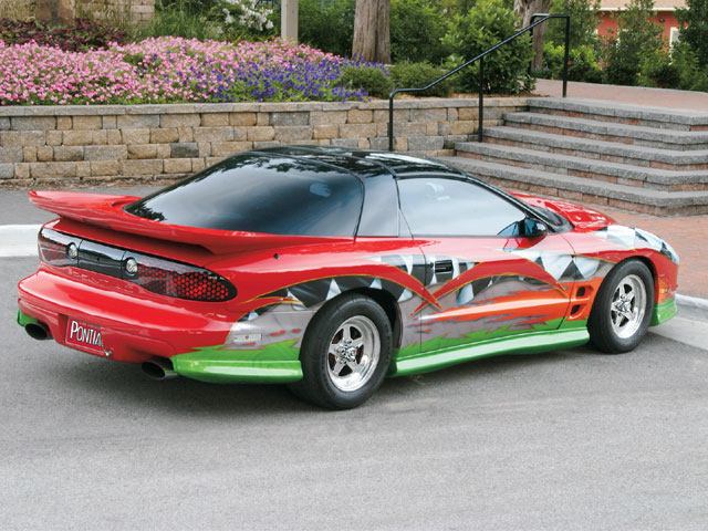 Krug's Kustom Painting designed and painted five separate graphics onto this Trans Am, all because the original owner wanted an attention-getter for his business-a haunted house theme attraction in Berrea, Ohio.