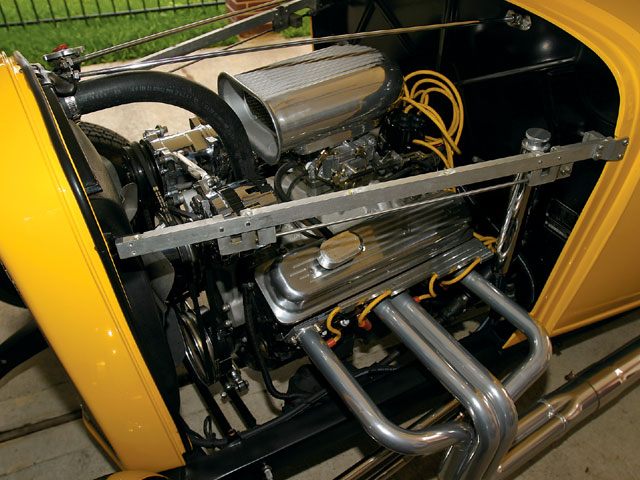 The mill in the Grabowski American Graffiti coupe is a GM 350ci crate engine rated at 330 horsepower. The original car sported a Chevy 327ci V-8 with a rare Man-A-Fre intake manifold and four Rochester 2G two-barrel carbs.
