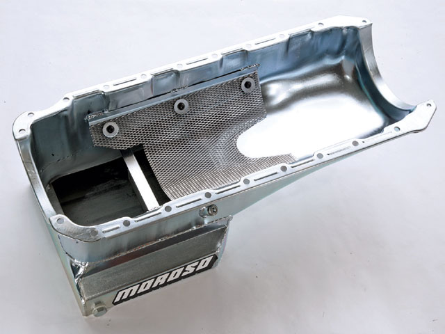 When we saw this street/strip oil pan from Moroso (PN 20403), we knew it was perfect for what we wanted to do with the Chevelle. A built-in windage tray is great for mitigating the foaming action created by a stroker crank like ours, and it doesn't involve being bolted to the main caps.