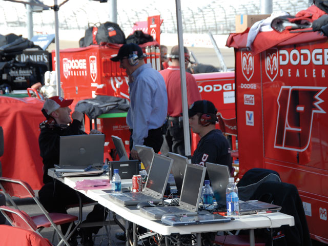 There is a host of engineers who work behind the scenes and also travel with the teams to record data and provide critical information to the teams. The role of engineer is changing as NASCAR transitions to the Car of Tomorrow (COT). Photo by Bob Lesieur