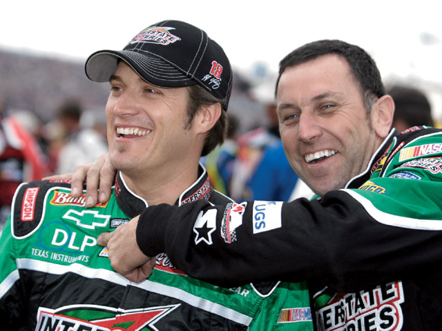 Nextel Cup driver J.J. Yeley and Peter Jellen enjoy a joke. After moving to Charlotte from Connecticut in the late '80s, Jellen has enjoyed more than 20 years as a NASCAR crewman and gasman, winning two Cup championships: one with Alan Kulwicki (1992) and another with Bobby Labonte (2000). Photo by Bob Lesieur