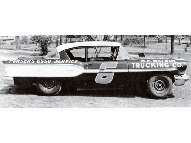 This is the second of four '58 Pontiacs campaigned by Cotton Owens. Notice that it is a hardtop, and was not converted for the NASCAR convertible races that were popular that year. The Chieftain featured Pontiac's new 370 ci motor. W.H. Watson Trucking Co. was to remain Owens' sponsor until 1960.